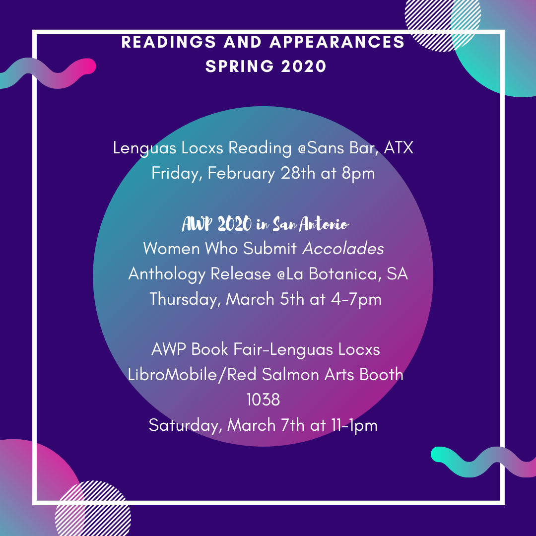 Readings and Appearances in Spring 2020
