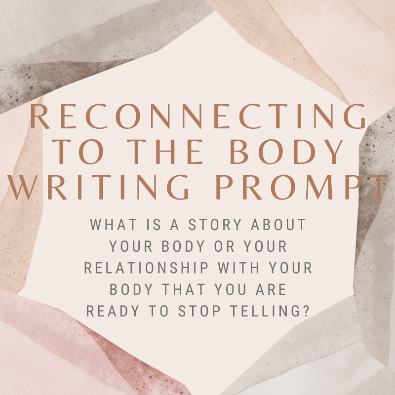 """A cream colored graphic with gray, tan and light pink curtains forming what looks like a cavern with this text in the middle in dark gold and gray text: """"Reconnecting to the Body Writing Prompt. What is a story about your body or your relationship with your body that you are ready to stop telling?"""""""